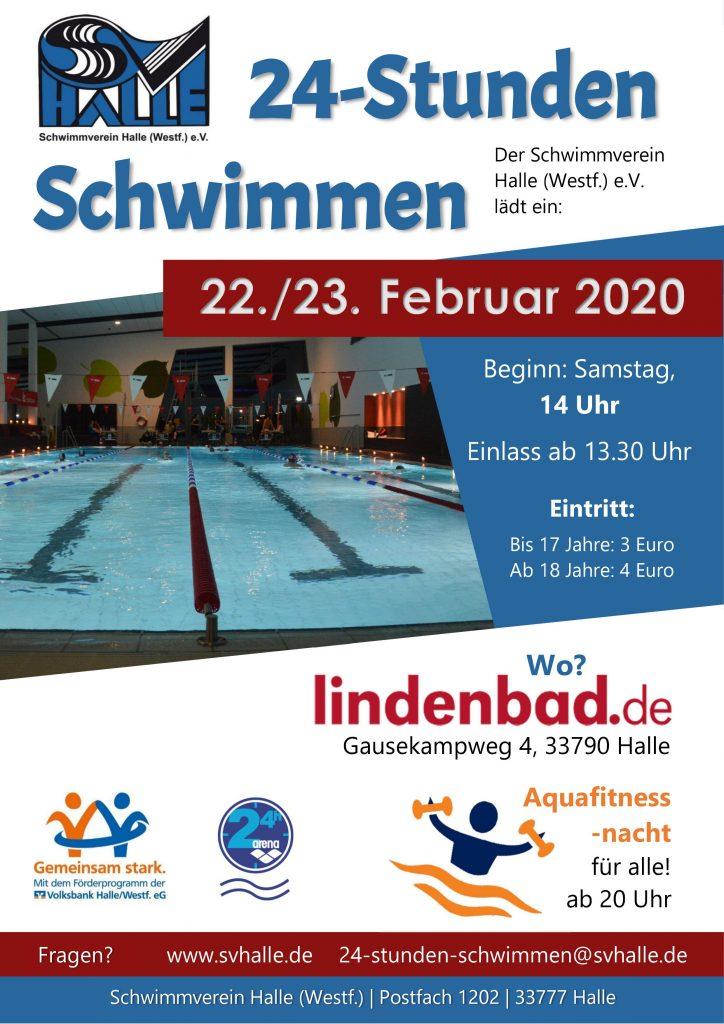 Flyer 24 Stunden Schwimmen im Lindenbad